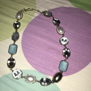 Light blue diamond and silver necklace